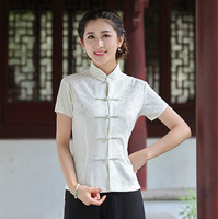 Fashion Summer White Chinese Female Lace Blouse Lady Mandarin Collar Shirt Tops Tang Clothing Size S