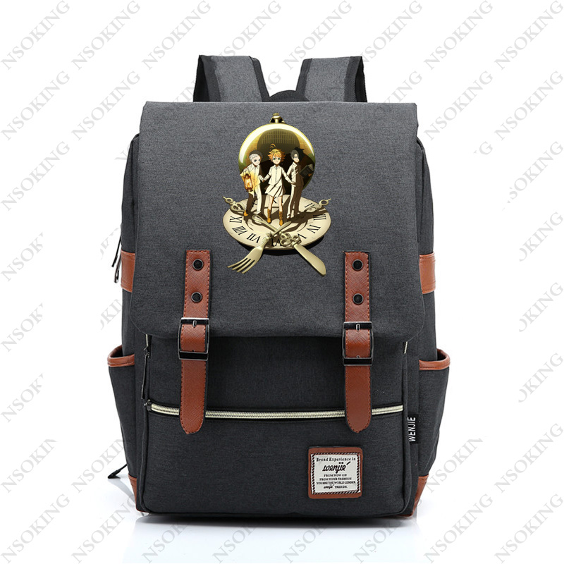 The Promised Neverland Backpack New Personalized Anime Student School Canvas Bag Fashion Men Women Emma Travel