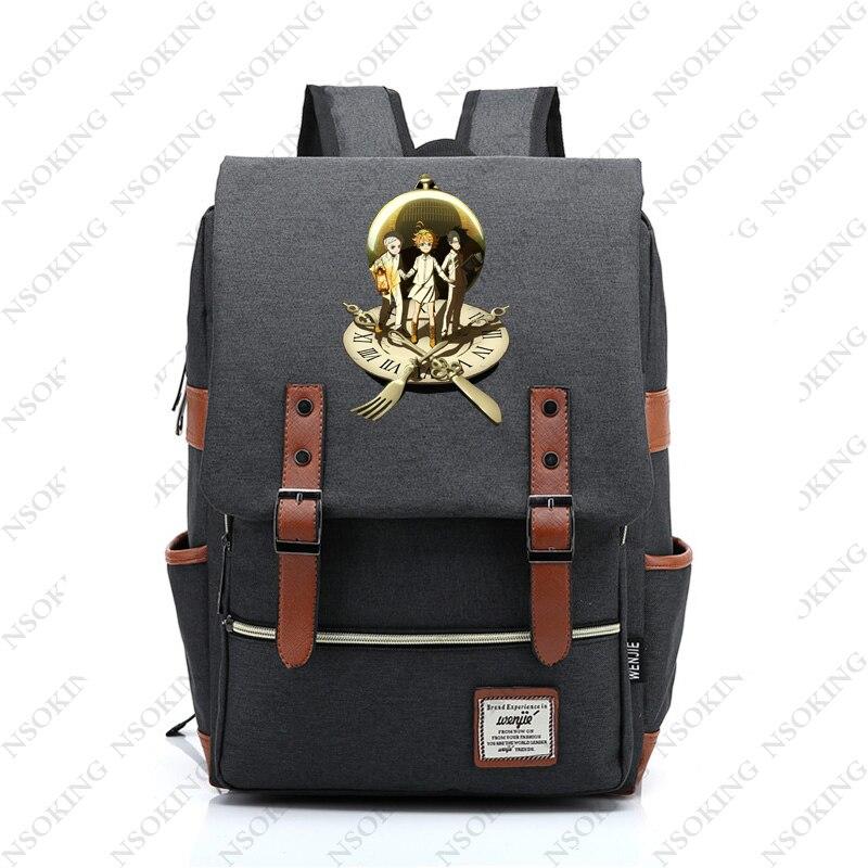 Le sac à dos anie promise nouveau sac personnalisé de toile d'école d'étudiant d'anime mode hommes femmes sacs à dos de voyage d'emma