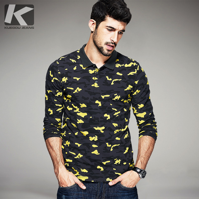 Autumn mens fashion polo shirts camouflage printed famous for Mens printed long sleeve shirts