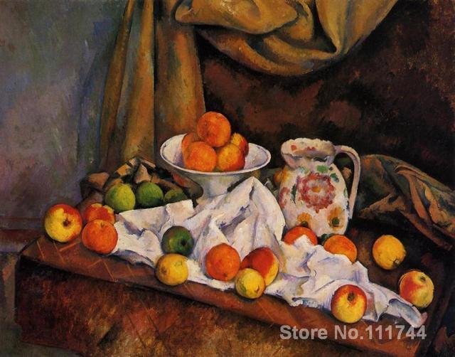 Still life art impressionnisme bol de fruits | Pichet et fruits, peintures Paul Cezanne reproduction, peinture à la main de haute qualité
