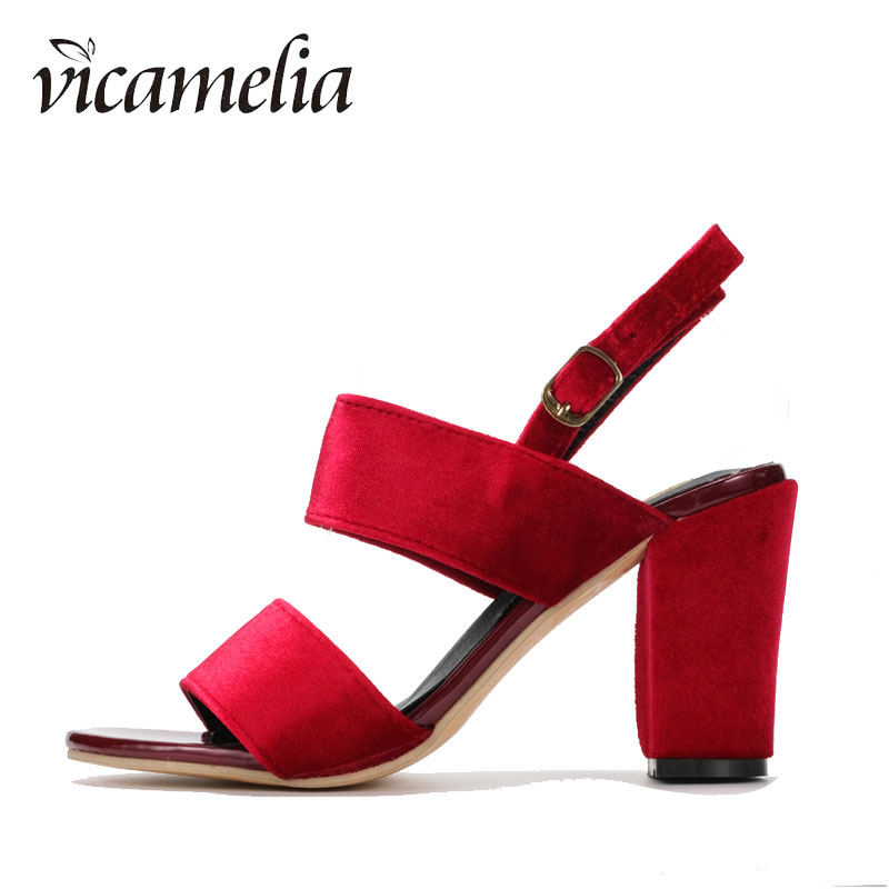 Fashionable Elegance Women Middle Heel Shoes Summer Gladiator Ankle Strap Sandals Sexy Solid Chunky Casual 559