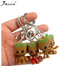 [Jkela] 4PCS Mini Tree man Grootted Doll Keychain Toys Guardians Galaxy Baby Treeman Keychain Pendant Toys Action Figure Toy