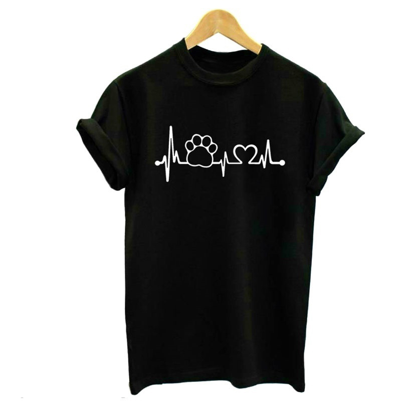 Paw Heartbeat Lifeline <font><b>dog</b></font> cat Women <font><b>tshirt</b></font> Halajuku Casual Funny t shirt For <font><b>Unisex</b></font> Lady Girl Top Tees Hipster image