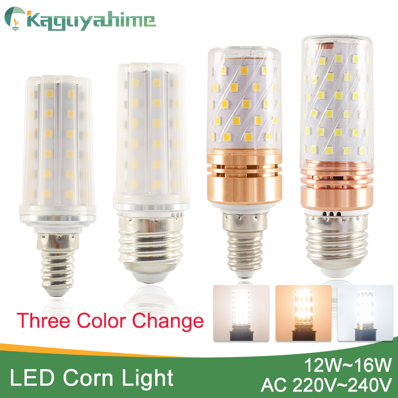 Kaguyahime E27 LED Lamp E14 LED Bulb 12W 14W 16W AC 220V 240V Corn Bulb Replace Chandelier Candle LED Light For Home lighting 3w e14 home candle bulb led light lamp ac 85 265v 6pcs