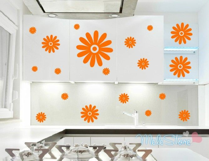 C19pcs kitchen cabinet stove 6 furniture furniture flower for Kitchen colors with white cabinets with yosemite sticker