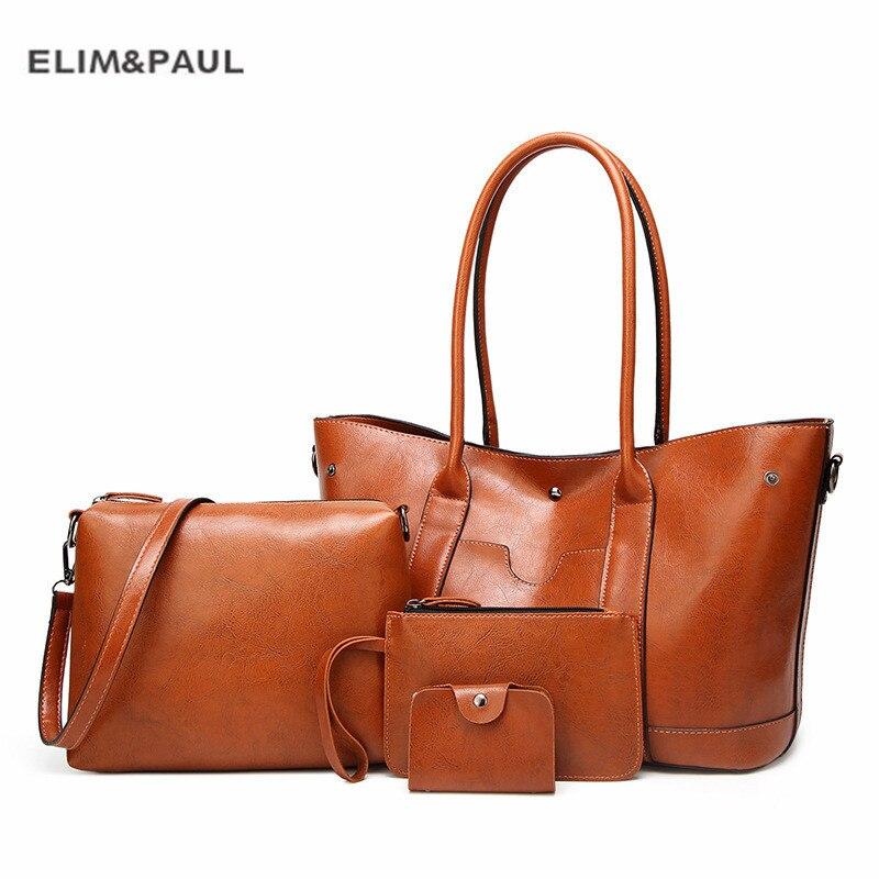 4 pièces/ensemble mode femmes Composite sac gland pur sac à bandoulière en cuir synthétique polyuréthane pochette pour femmes sac à main ensemble grand fourre-tout femme sac à provisions