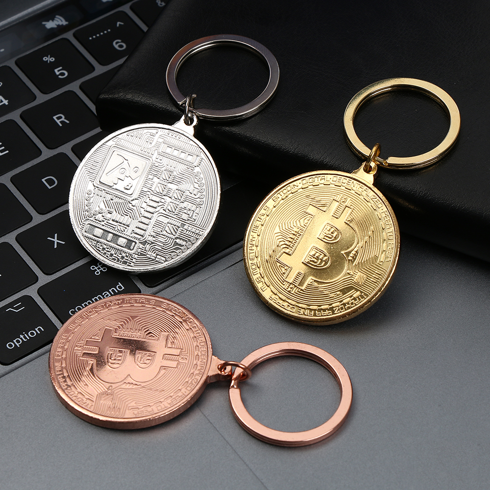 1PCs Hot Bitcoin Key Chain Coin Key Rings Jewlery Commemorative Collectors Friends Gifts Key Accessories Bag Pendant Keychain 1