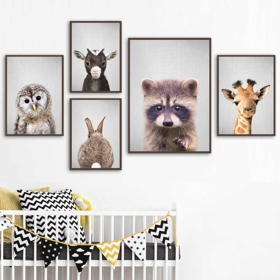 Giraffe Rabbit Owl Sheep Raccoon Nursery Nordic Posters And Prints Wall Art Print Canvas Painting Wall Pictures Baby Kids Room