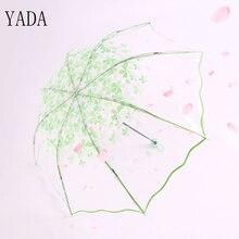 YADA PEVA Romantic Sakura Transparent umbrella Rain Women Environmental Protection Umbrella For Windproof Umbrellas YS234