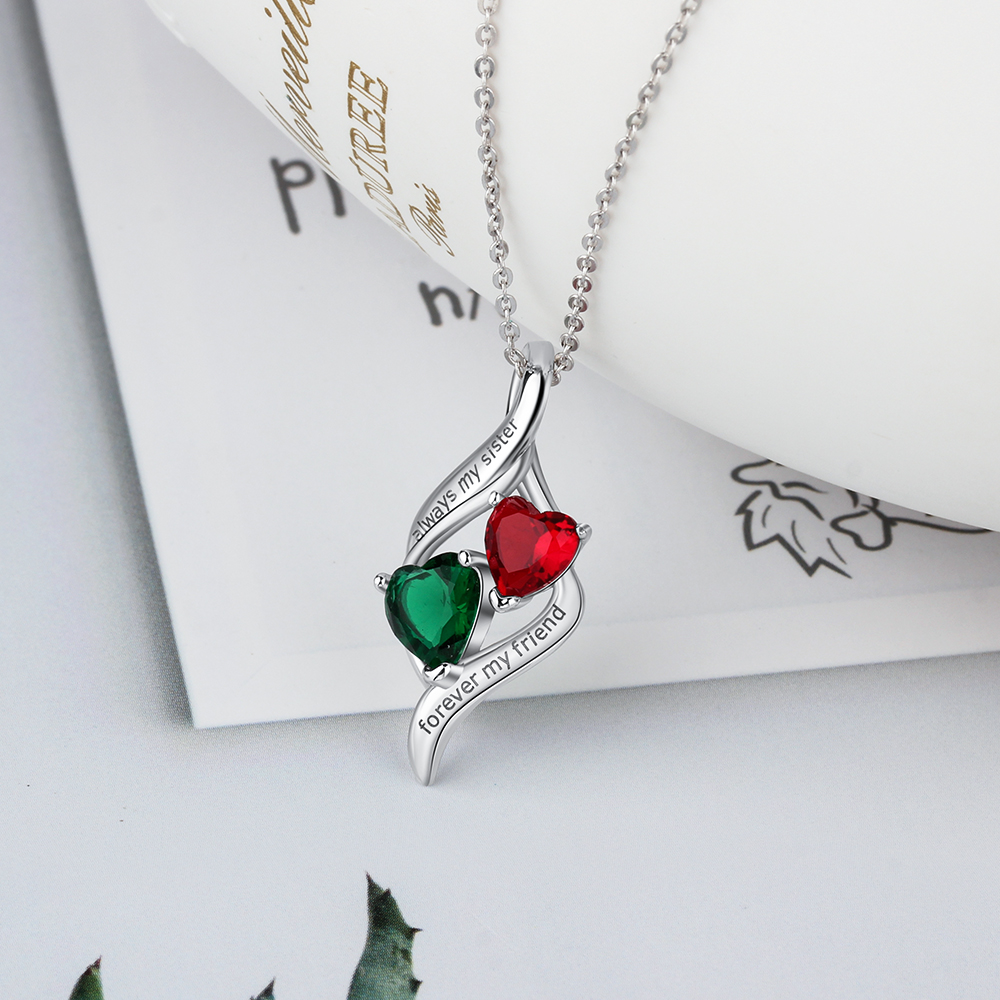 quot Always My Sister Forever My Friend quot Birthstone Personalized 925 Sterling Silver Necklaces amp Pendants Fine Jewelry Lam Hub Fong in Necklaces from Jewelry amp Accessories