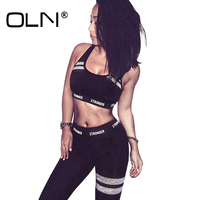 OLN 2 Color Tracksuit Women Two Piece Set Summer Bustier Bra Top Workout Leggings Fitness Clothing Suits Gray Black Outfit Y074