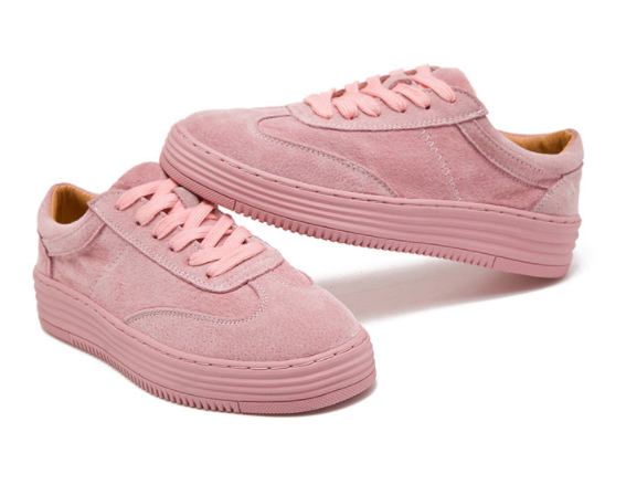 En Rose Lacent blanc Chaussures forme Pour Véritable Rose Plate Cuir Xek Mode Creepers Zll60 Femmes Blanc Sneakers 5Yw4pwqzx