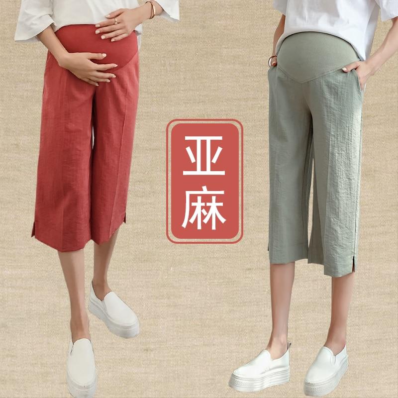 75a9d5107dd1a 3121# 7/10 Length Wide Leg Thin Linen Maternity Capris Pants Summer Casual  Vintage