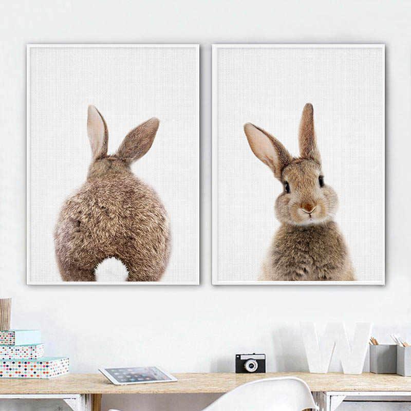 الأرنب الأرنب الذيل جدار صورة فنية الغابات الحيوان قماش المشارك الحضانة طباعة الحد الأدنى اللوحة الشمال الاطفال غرفة الطفل ديكور