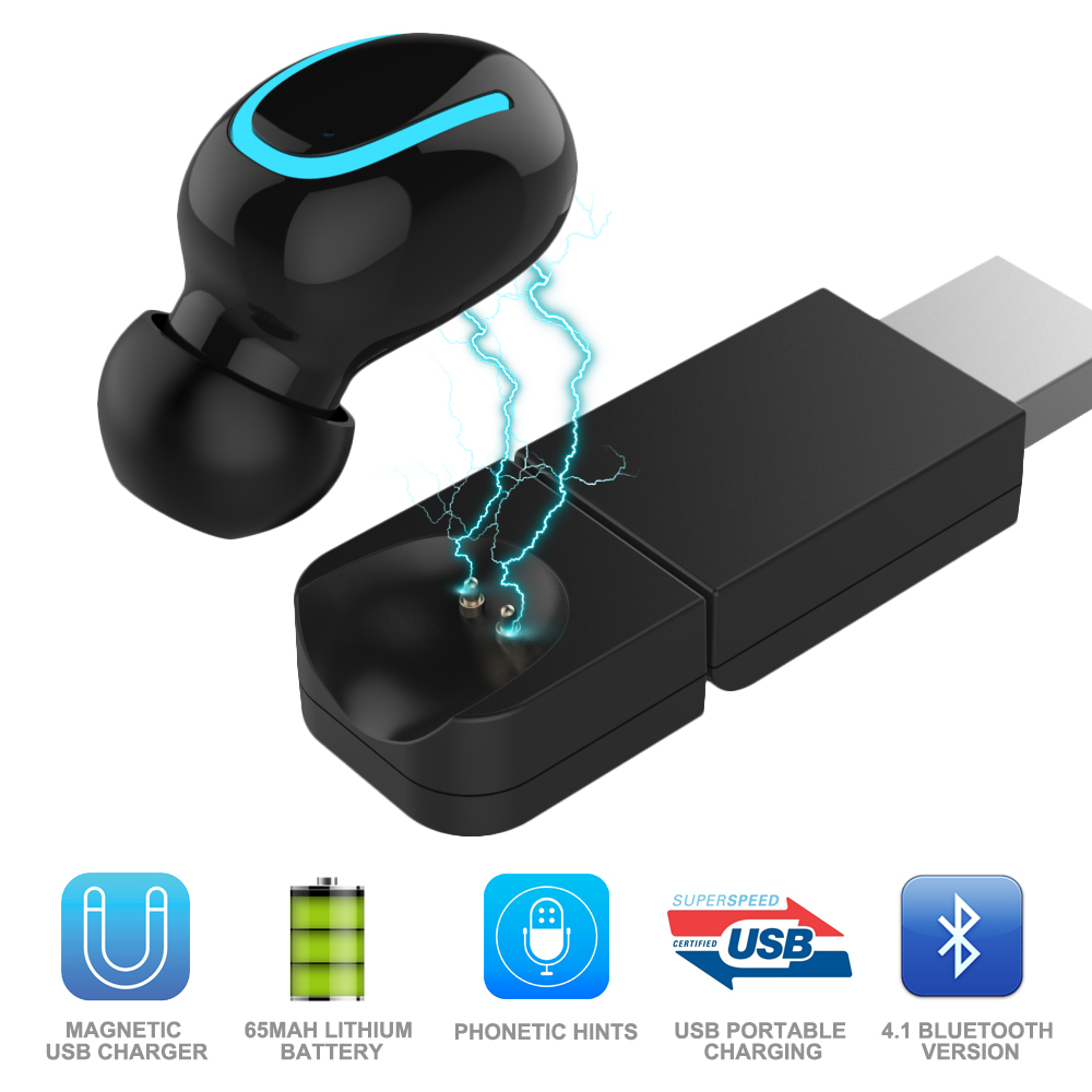 Mini Wireless Earbud Music Headset Invisible Headphones Mic Car Bluetooth Earphone With USB Magnetic Charging For Iphone Xiaomi