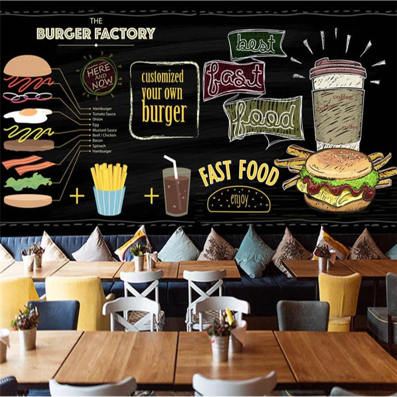 Beibehang Custom Wallpaper 3d Mural European And American Hand-painted Burger Fast Food Restaurant Snack Bar Mural 3d Wallpaper