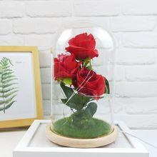 Usb красочные мигающие огни искусственные свежие розы романтические