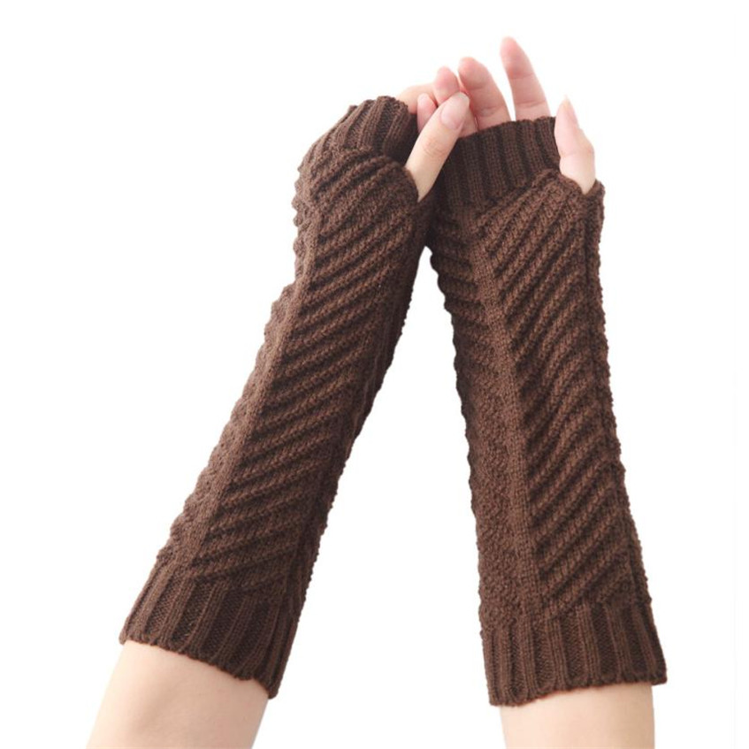 LKF Women Fashion Knitted Arm Sleeve Fingerless Winter Gloves Soft Warm Mitten 2017 Y8023