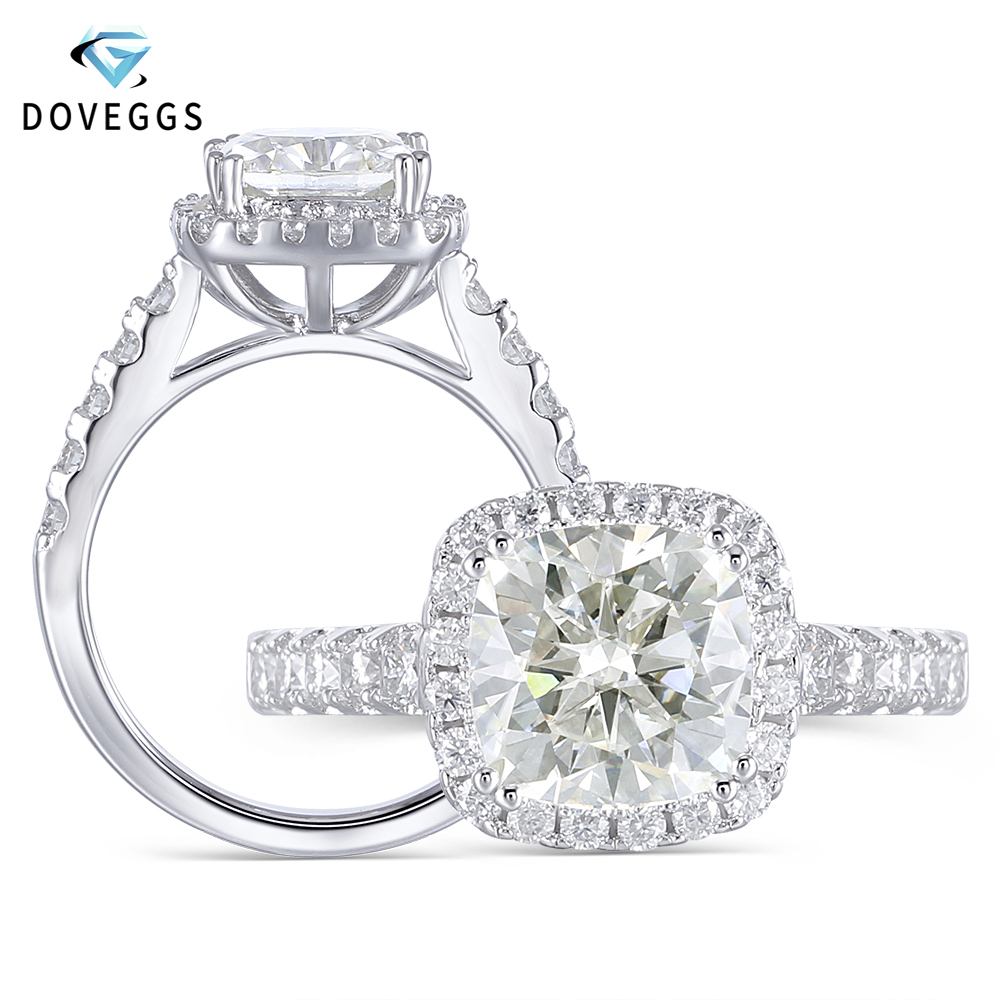 DovEggs Center 2 Carat GH Color 7 5mm Cushion Cut Moissanite Engagement Rings For Women Halo