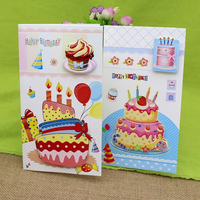 Free Ship1lot24pcCartoon Birthday Cake Stereo Message Card Greeting Festival Paper Cards
