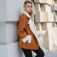 Lily Rosie Girl Casual Khaki Faux Leather Jacket Women Winter Parks Autumn Coat 2017 Warm Cotton