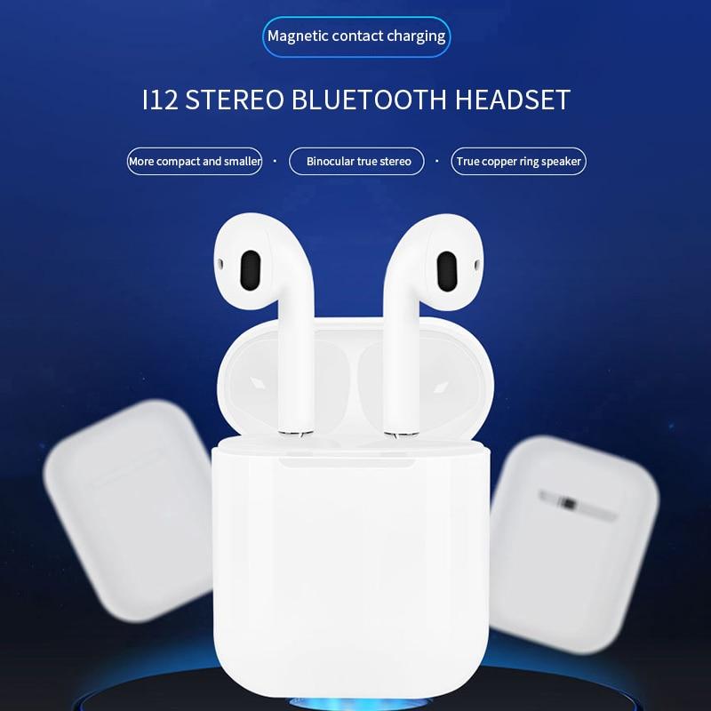 AZN i12 TWS Auricolari Senza Fili di Tocco di Ricarica Aggiornamento Stereo Bluetooth 5.0 Auricolare Dell'orecchio Aria Baccelli Per Xiaomi Pop i7s i8s i9S i10