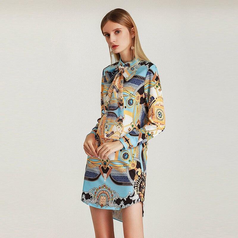 Vintage Longues Sash Robes De Col Élégant Nouveauté Bleu À Femmes Piste Imprimé Manches Arc Qyfcioufu 2019 Chemise D'été Lâche Décontracté zvwcAq