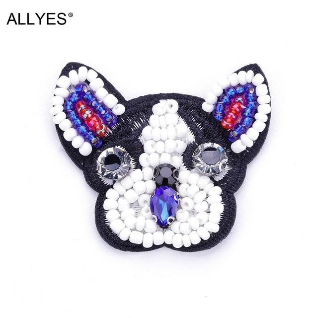 Allyes щенок Броши для Для женщин Обувь для девочек одежды мешок значок Jewelry Вышивка акрил Бусины кристалл животных Булавки брошь