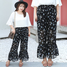 2019 Summer chiffon Wide Leg Pants women fashion loose ladies trousers plus size 3xl print floral black long pants high quality plus floral and geo print wide leg pants