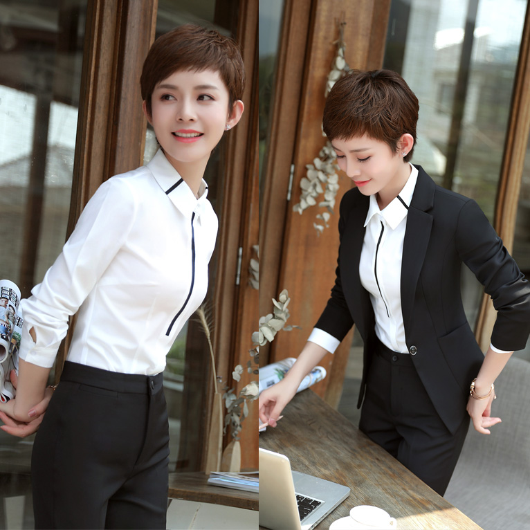 2020 Autumn and Winter Professional Women's Suit Long Sleeve Slim Small Interview Hotel Workwear Three Suits - 2