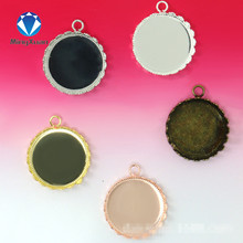 10pcs Fit Inner 15/20/25mm Welding Crown Sharp Round Brass Glass Cabochon Base Cameo Setting DIY Pendant Tray Wholesale