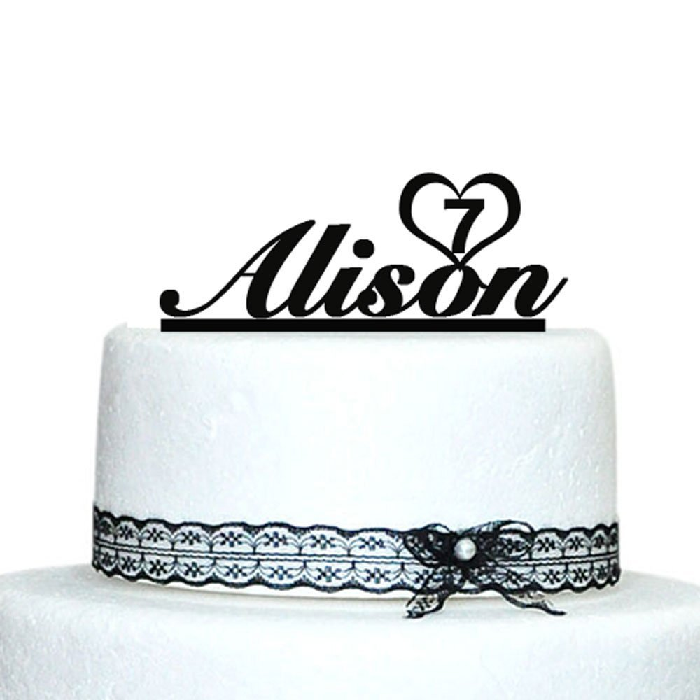 Personalized Happy Birthday Cake Topper ,Name and Number Baby Shower Cake Topper, Birthday Party Decoration, Kids Birthday Gift