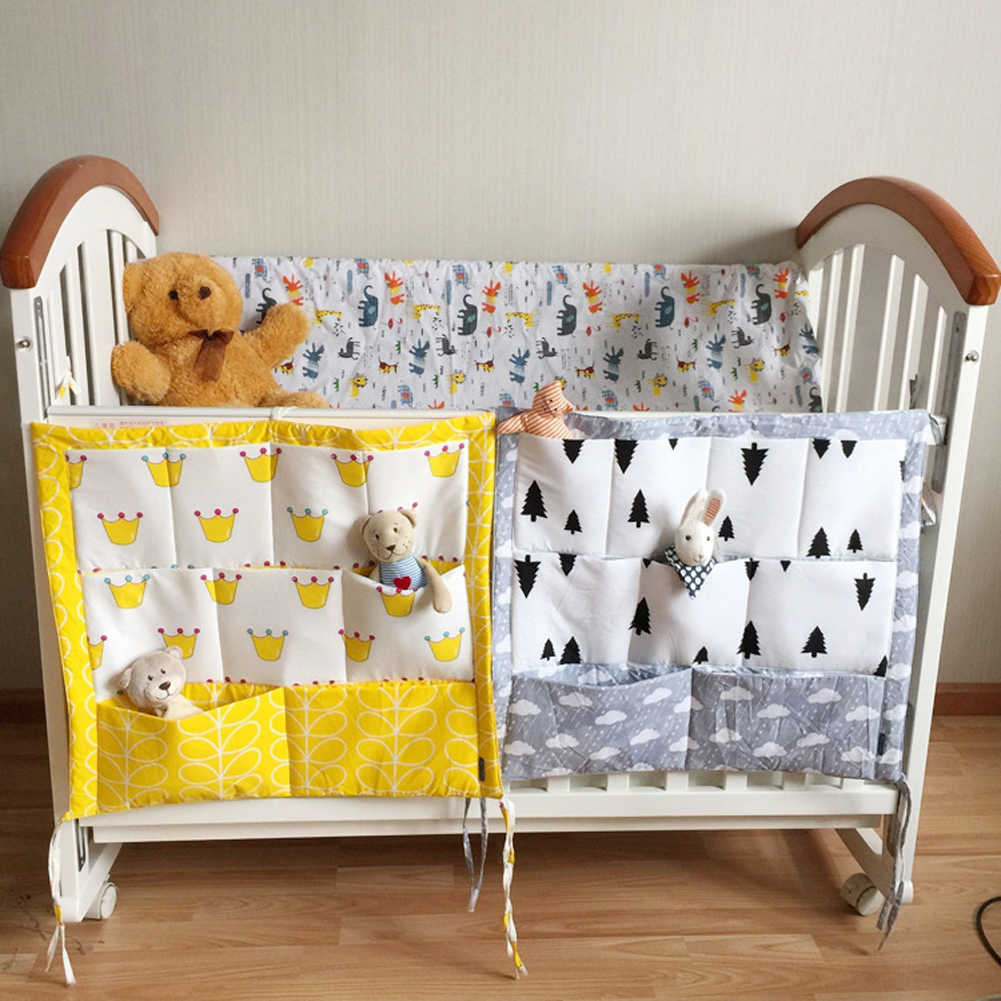 Crib Baby Bed bumper Hanging Storage Bag Multi-functional muslin Baby Cot pocket Hanging Storage Bag Baby Bedding Bumper Bedside