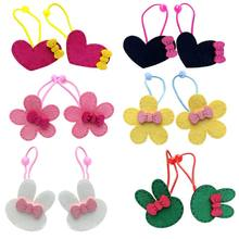 Child Girls Elastic Rubber Band Colorful Cartoon Bunny Flower Heart Cloth Craft Hair Rope Sweet Bowknot Decor Ponytail Holder(China)
