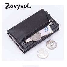 Fashion new Smart Wallet Vintage PU Leather Coin Purses Magnetic Closing Card Holder Casual Money Bag RFID Blocking