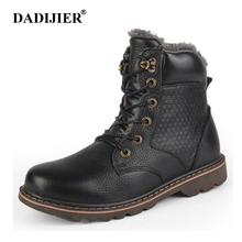 DADIJIER Natural Wool Men Winter Shoes Warmest Genuine Leather Handmade Men Winter Snow Boots wyq87