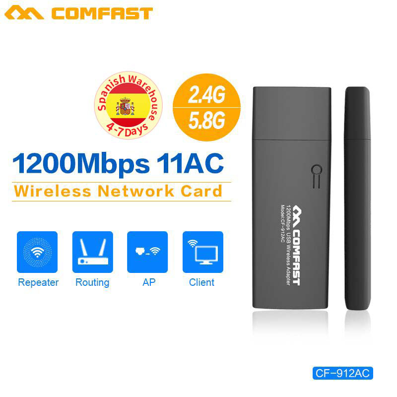 COMFAST CF-912AC 2.4G / 5.8GHz Dual-Band 802.11b/g/n/ac 1200Mbps USB 3.0 WIRELESS Wifi ADAPTER PC Network Card USB Wifi Dongle