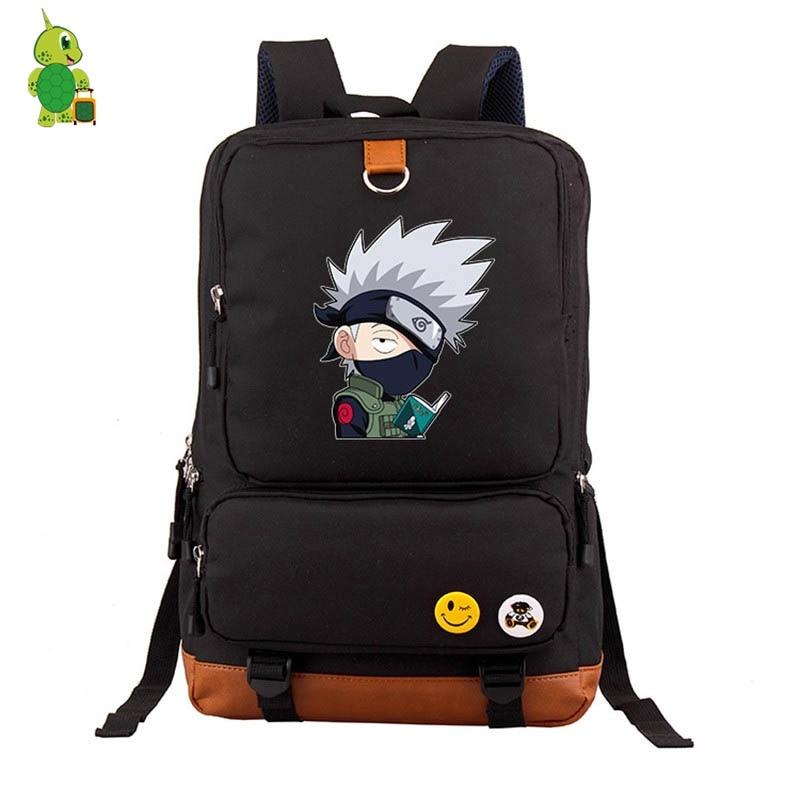 Anime Chibi Naruto Backpack Kakashi Naruto Sasuke School Bag For Teenage Boys Girls Laptop Backpack Large Capacity Travel Bags