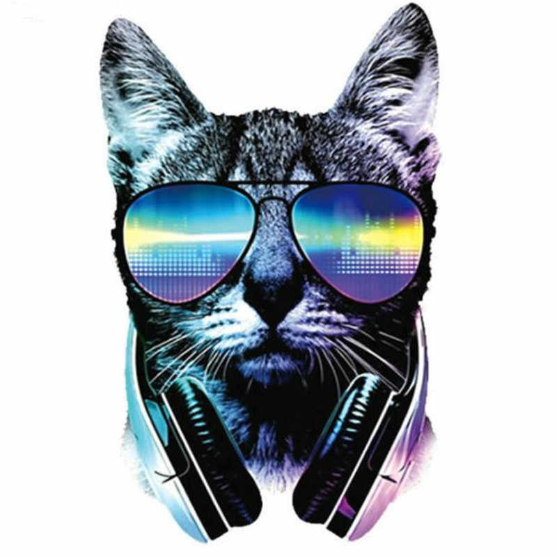 Fashion PVC Patch Music cat deal with it Clothes Heat Transfer Printing T shirt women iron on patches for clothing girl Stickers