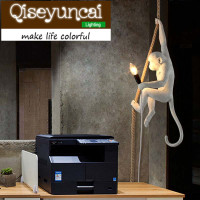 Qiseyuncai Resin Monkey LED Pendant Lights Modern Droplight Creative Rope Hang Lamp For Cafe Bar Lamp
