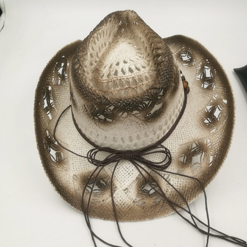 17 Summer Unisex Hollow Punk Straw Cowboy Hat With Beads Rope Men Wide Curling Brim Caps Women Western Cowgirl Sun Hats 6