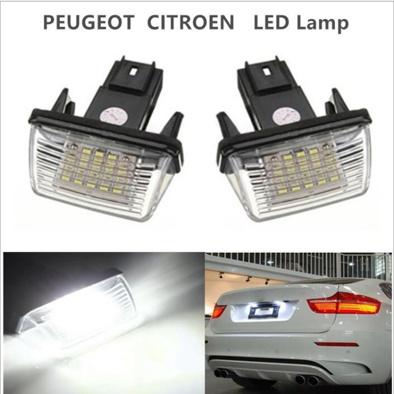 2Pcs/Set <font><b>LED</b></font> License Number Plate Lights <font><b>Lamp</b></font> For Citroen C3 C4 C5 Berlingo Saxo Xsara Picasso image