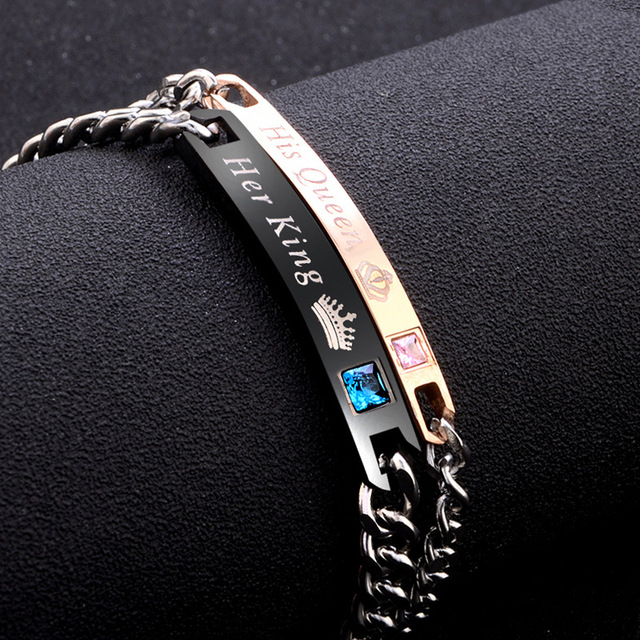 2Pc/Set Queen King Stainless steel Stone Women Man Chain Crystal Couple Bracelet for Men snap jewelry bracelet Pulseira hombres 1