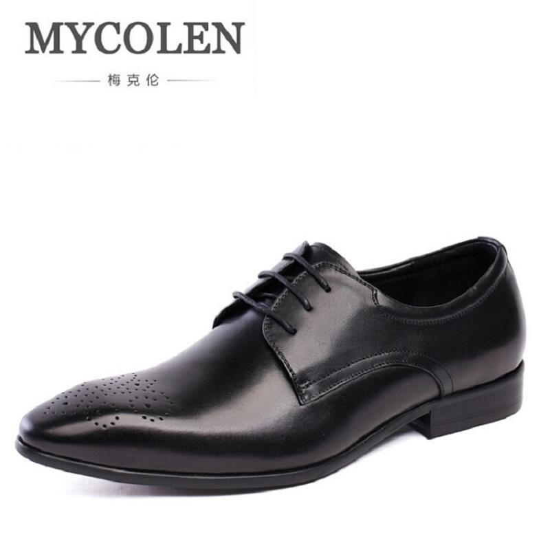 все цены на MYCOLEN Spring Autumn Mens Shoes Dress Cowhide Leather Black Fashion Oxford Formal Business Male Shoes Wine Red sepatu pria онлайн