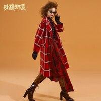 ELF SACK Winter Warm Woman Woolen Coat Long Sleeve Plaid Turn down Collar Women Jackets Wide waisted Femme Single Breasted Coats