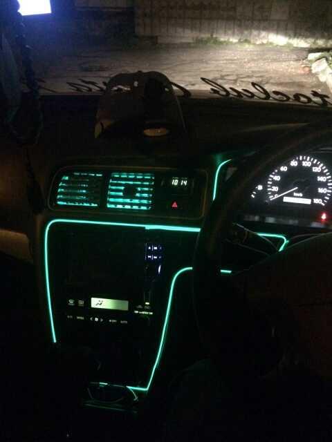 El Kawat 6 Mm Jahit Tepi Lampu Mobil Neon Bersinar Nyala LED Strip Pesta Dansa Halloween Dekorasi Striping Liburan Lampu