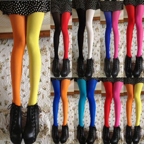 Women Sexy Patchwork Tights Stretchy Pantyhose Stockings Elastic Mixed Color Tights
