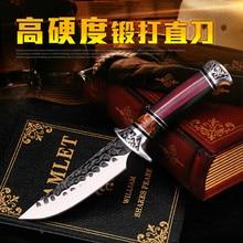 Nhật Bản màu đỏ tay cầm bằng gỗ ngoài trời chiến thuật dao thẳng cứu hộ lặn dao ngoài trời con dao săn phân phối Bao da
