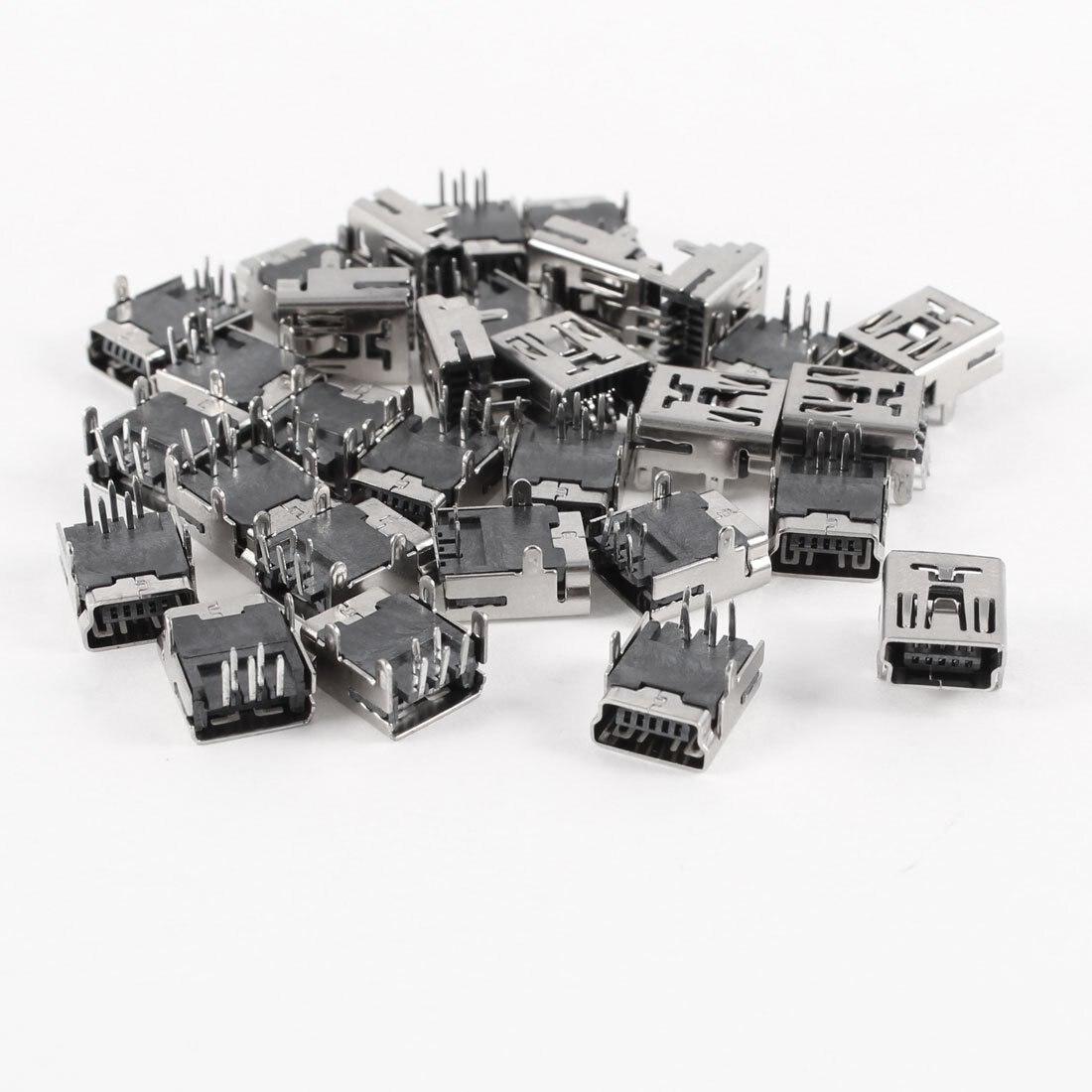 30 Pcs Mini USB Type B Female Socket 5-Pin Right Angle DIP Jack Connector